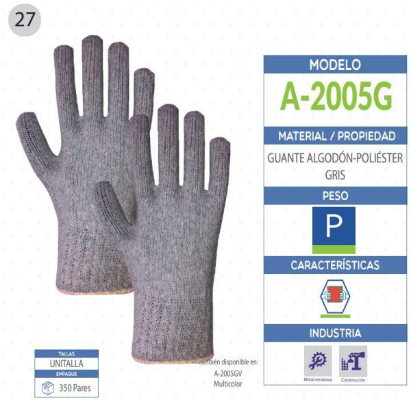 Guante de algodón-poliester gris de seguridad industrial