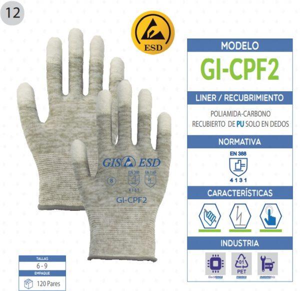 Guante Poliamida-Carbono recubierto de poliuretano solo en dedos de seguridad industrial