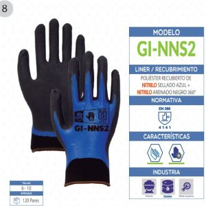 Guante de Poliéster recubierto de Nitrilo sellado azul + Nitrilo arenado negro 360° de seguridad industrial