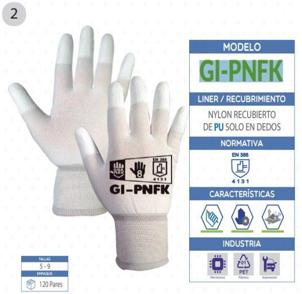 Guante de Nylon con recubrimiento de poliuretano solo en dedos de seguridad industrial