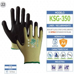 Guante KEVLAR® Glass Stretch recubierto de Nitrilo espumado en palma de seguridad industrial