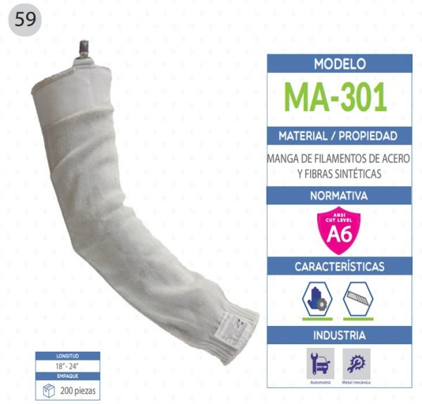 Manga de filamentos de acero y fibras sintéticas de seguridad industrial