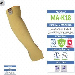 Manga 100% KEVLAR con orificio para pulgar de seguridad industrial