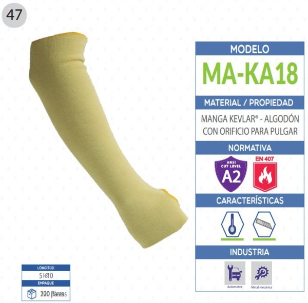 Manga KEVLAR® - Algodon con orificio para pulgar de seguridad industrial