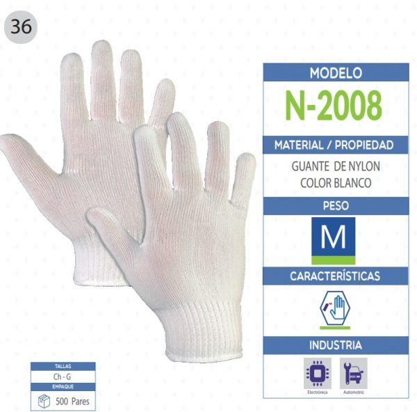 Guante de Nylon color blanco de seguridad industrial