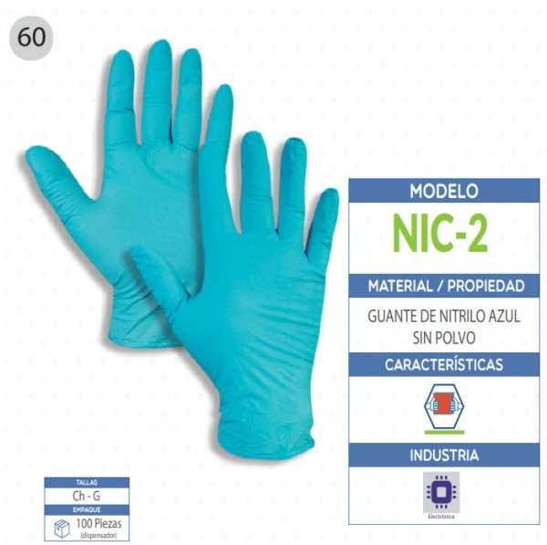 Guante de Nitrilo color azul sin polvo de seguridad industrial