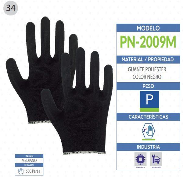 Guante poliéster color negro de seguridad industrial
